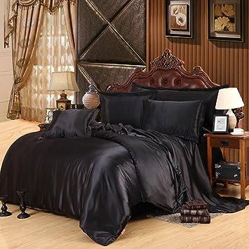 reines schwarz bettwäsche set Simulation seide satin schlafzimmer ...