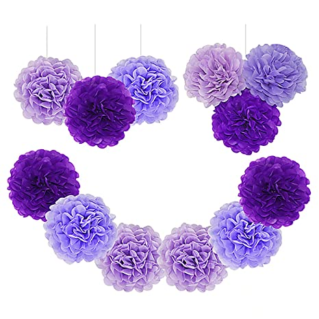 Paper Pom Poms Tissue Paper Flowers Purple Mysterious Flower Balls Wedding Birthday Party Baby Shower Pack Of 12pcs