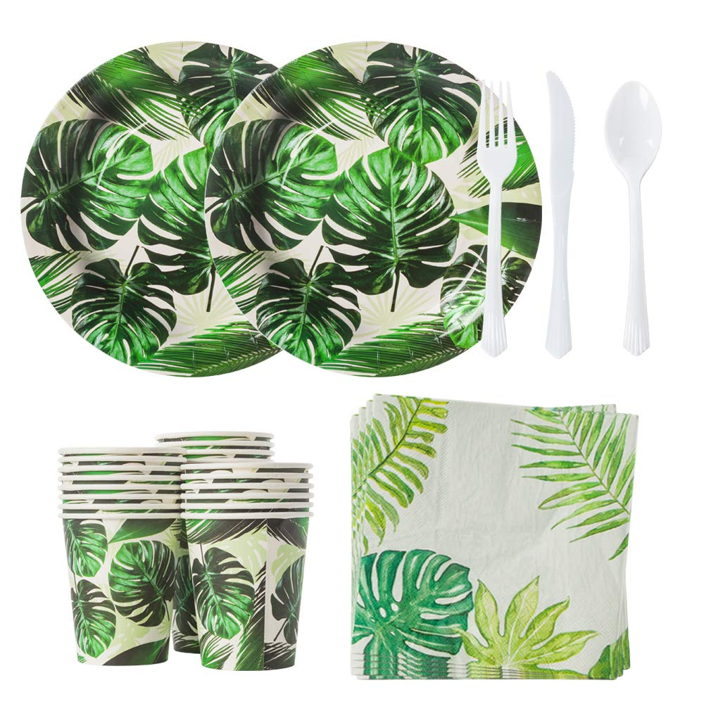 Mpartido Hawaiian Luau Party Supplies 144 Pieces Serves 24 Hawaiian Luau Party Decorations Set Includes Plates, Knifes, Spoons, Forks, Cups, Napkins for Birthday and Summer Luau