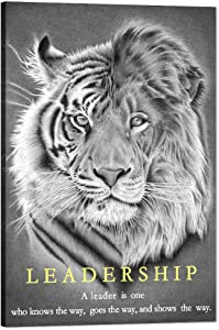"Inspirational Canvas Wall Art Lion and Tiger Pictures Modern Leadership Motivational Entrepreneur Quote Painting Black and White Inspiring Posters Prints Artwork Office Home Decorations(12""Wx18""H)"