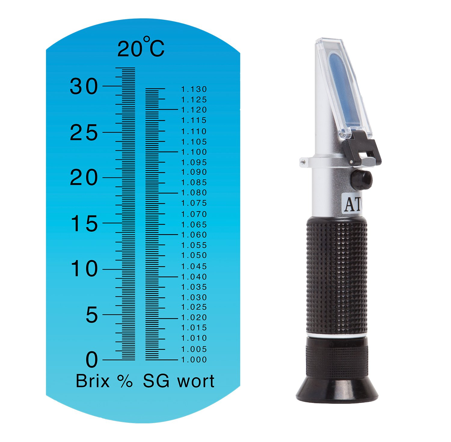 Brew Tapper Dual Scale Refractometer with ATC | Brix & Specific Gravity | Best for Beer