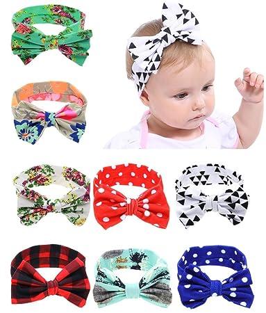 Amazon.com  QandSweat Baby Girl s Elastic Headbands with Hair Bows ... a9f9f93efa3
