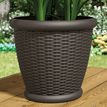 Suncast Willow Resin Wicker Planter - Set of 2