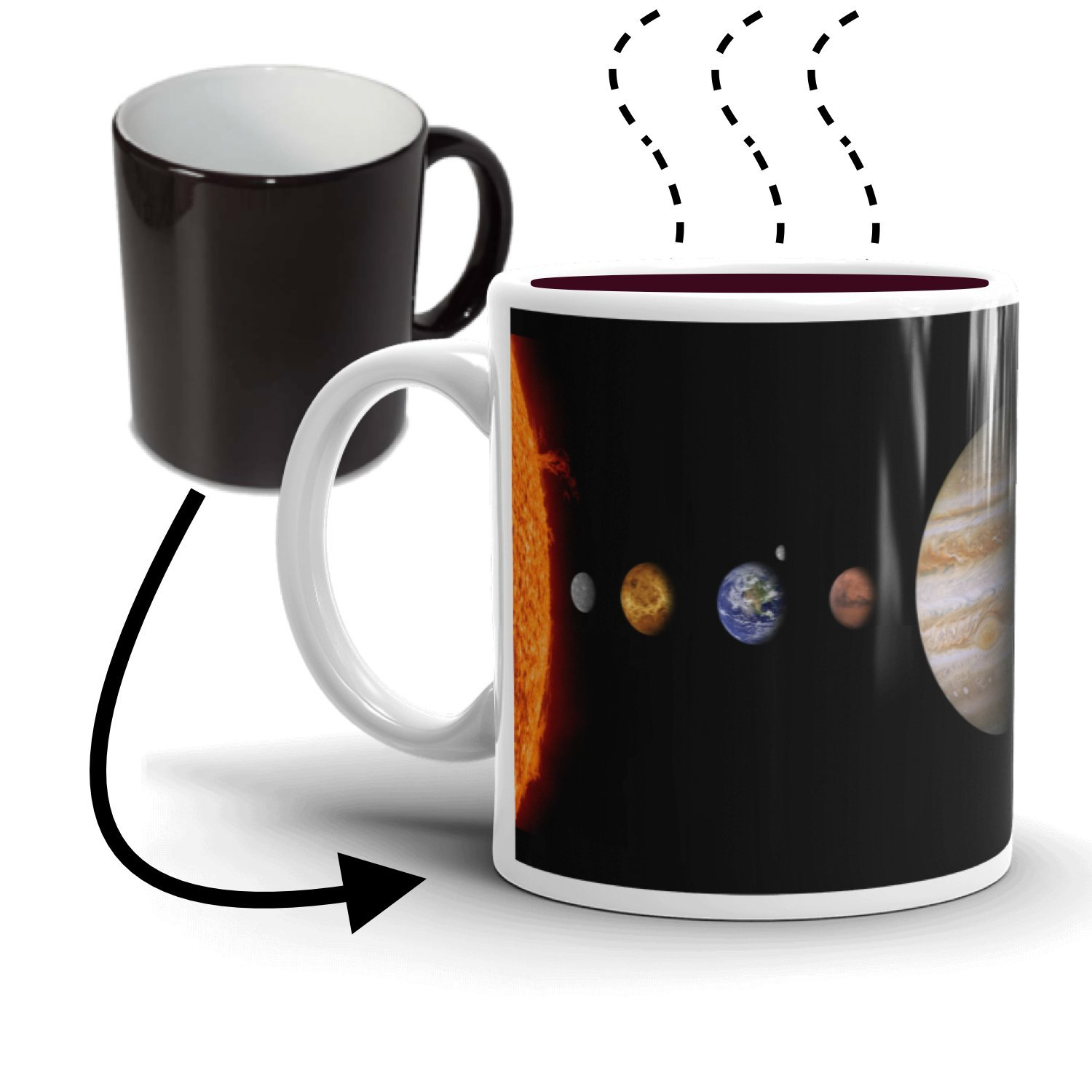 The Solar System Coffee Mug (11oz) | Heat Sensitive Color Changing | Unique gift idea for mom dad best friend sister brother teacher professor student science nerd tech geek