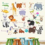 StickMe 'Animal Alphabets Wall Sticker' -SM405 (PVC Vinyl - 100cm X 100 cm)