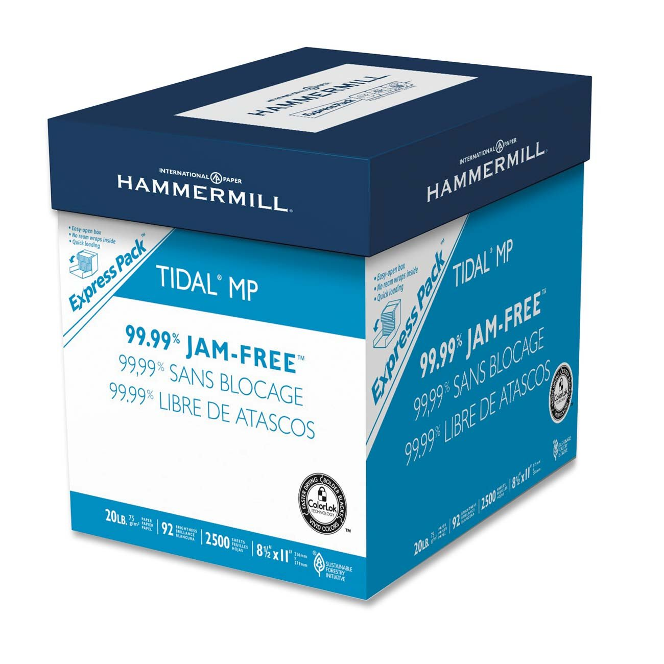 Hammermill Paper Tidal Mp 20Lb 8.5 X 11 92 Bright Letter 2500 Sheets/ Express.. 2