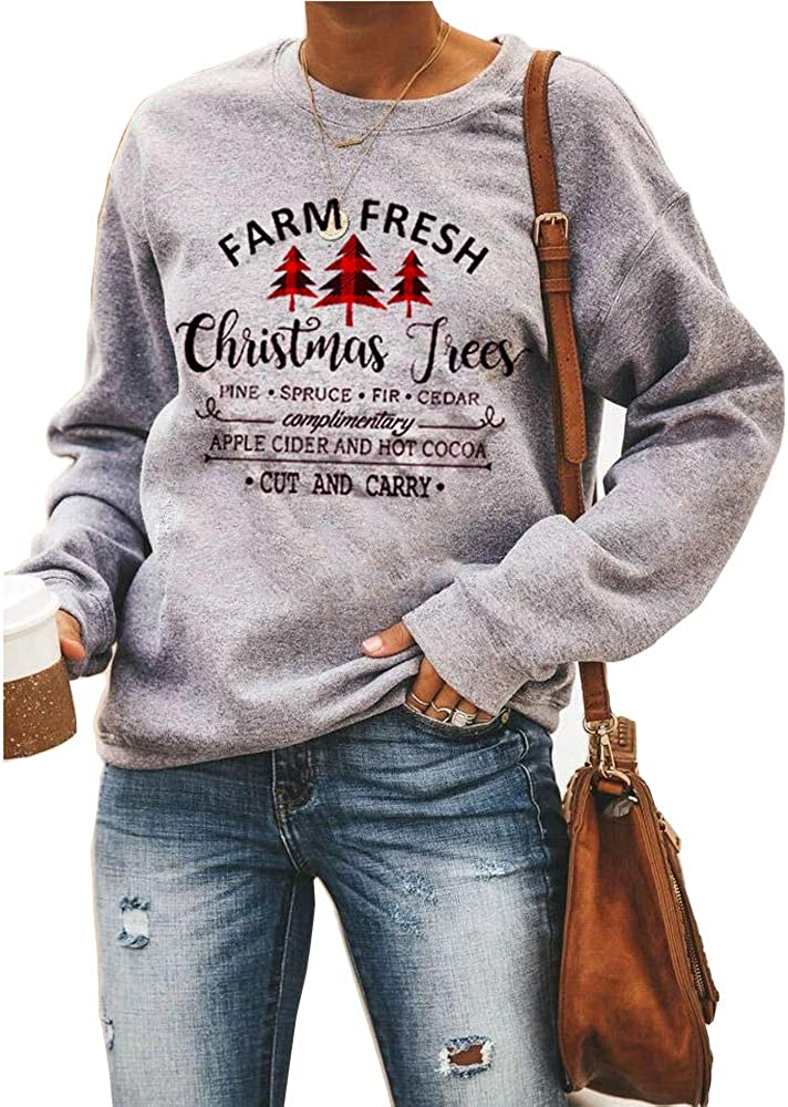 Hailouhai Womens Christmas Round Neck Pullover Long Sleeve Funny Tree Truck Letter Printed Pullover Sweatshirt Blouse Tops