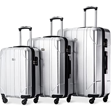 25fbe319901f Merax Luggage 3 Piece Set PET Luggage Spinner Suitcase Lightweight 20 24  28inch