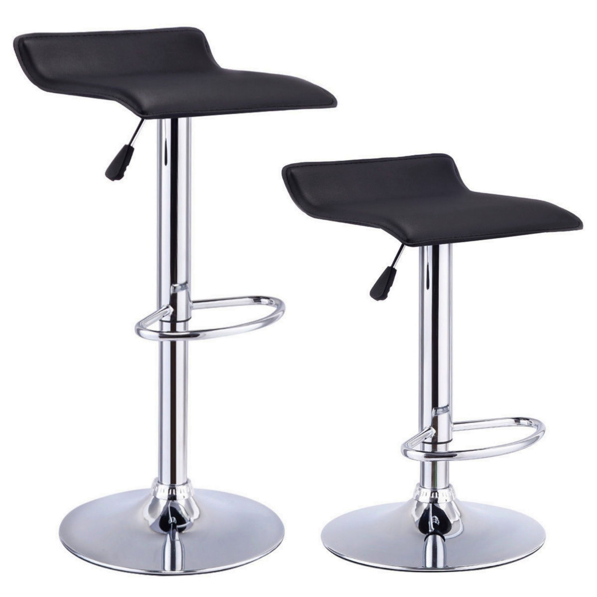 Set Of 2 Swivel Bar Stools Adjustable Waterproof Anti-aging PU Leather Backless Dining Bar Chair Square Black #711