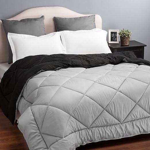 "Twin Reversible Comforter Duvet Insert with Corner Ties-Quilted Down Alternative Comforter Diamond Stitching Design Black/Grey 68""x88"" by Bedsure"