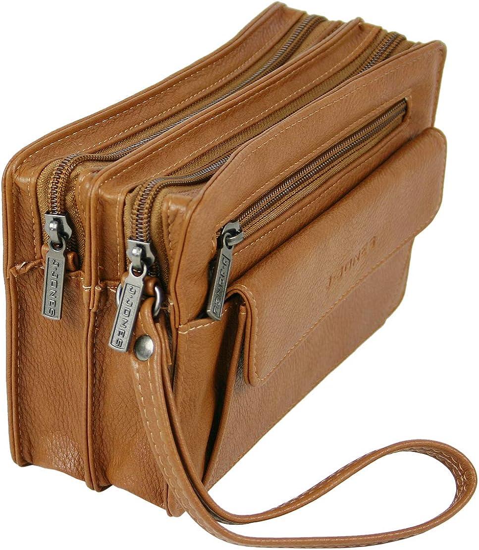 J.Jones Praktische Herren Handtasche Clutch Handgelenktasche mit Tragriemen ger/äumig und bequem