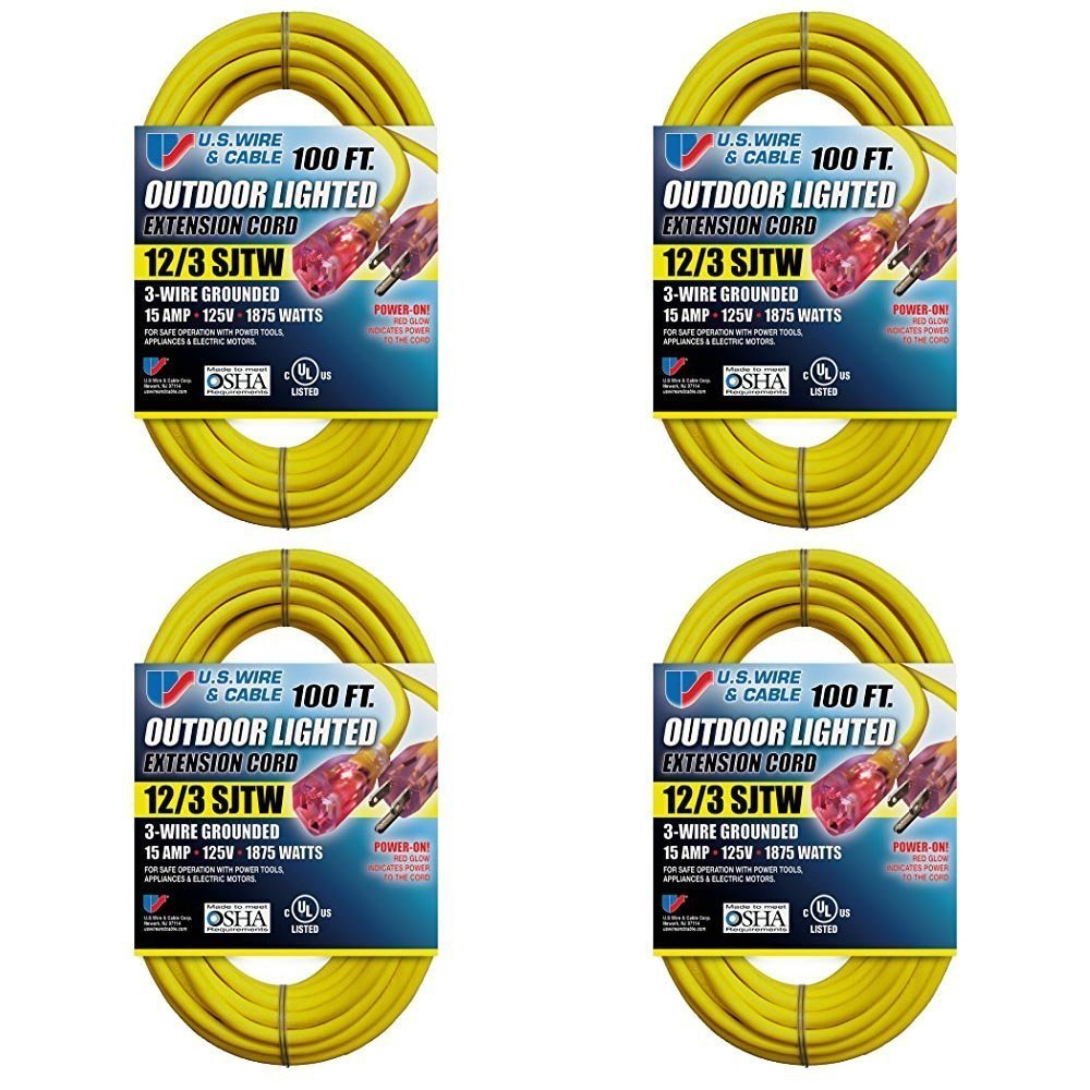 Us Wire Power On Lighted Extension Cord Sjtw Heavy Duty Safety Electrical How Should I Connect These Two Yellow Wires Home 74100 12 3 100 Feet