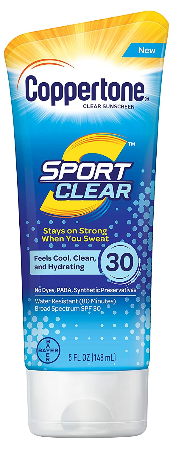 Coppertone Sport Clear SPF 30 Sunscreen Lotion, Water Resistant, Non-Greasy, Broad Spectrum UVA/UVB Protection, Clean, Cool, 5 Ounce