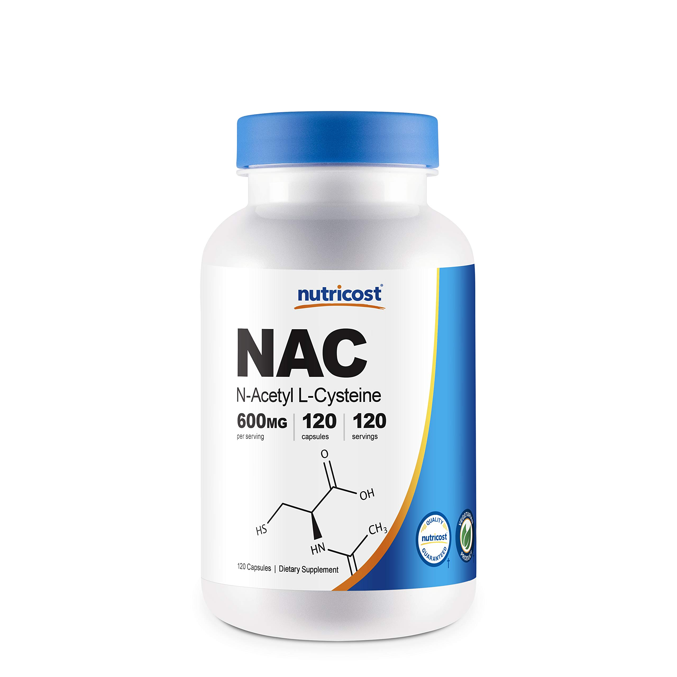 Nutricost N-Acetyl L-Cysteine (NAC) 600mg, 120 Vegetarian Capsules - Non-GMO, Gluten Free, Vegetarian Caps