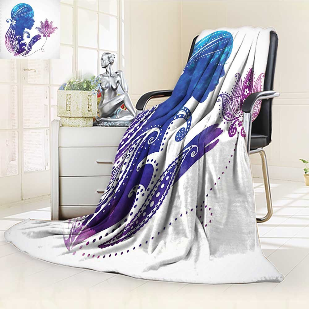 YOYI-HOME Silky Soft Plush Warm Duplex Printed Blanket Silhouette with Flowers on Her Hair Floral Ornaments Meditation Spa Artwork Purple Blue Anti-Static,2 Ply Thick,Hypoallergenic/W86.5'' x H59