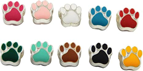 Paw Print Spacer Beads Pet Dog Foot Prints Surrounding Simple Charm for Bracelets Macrame Hair Braids Varying Contrast Jewelry Supplies 9mm