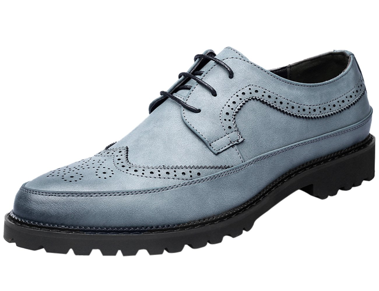 Santimon Running Shoes Men Leather Classic Casual Dress Shoes with Leather Lining Blue 5 D(M) US