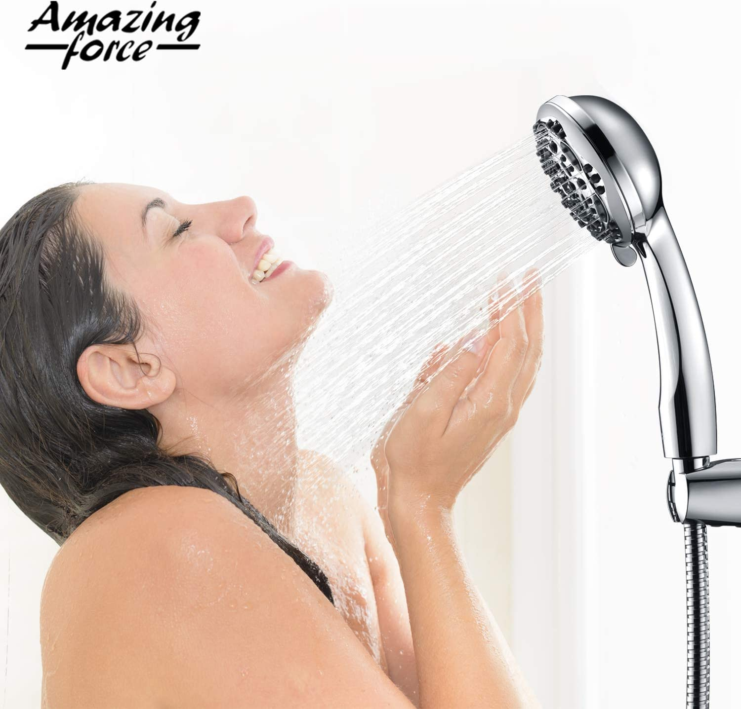 6 feet Amazing Force High Pressure Handheld Shower Head with 7 Spray Setting Massage Spa Showerhead with Adjustable Suction Cup and Bracket 4 Handheld Shower Heads with Extra Long Hose 71 inch Black