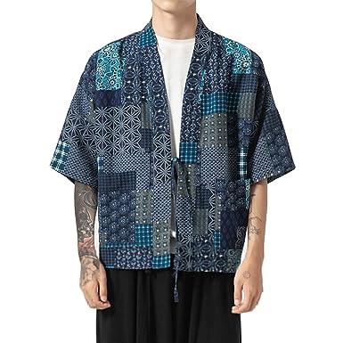FAXIKIO Kimono de Moda para Hombre, Mezcla de algodón, Capa ...