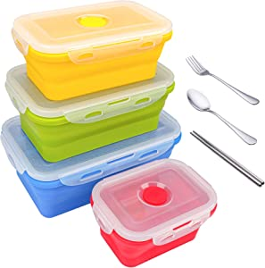 Collapsible Food Storage Containers with Airtight Plastic Lids, Silicone Stacking Foldable Folding for Kitchen Outdoor Travel Picnic Bento Lunch Meal Boxes, Microwave Freezer Dishwasher Safe