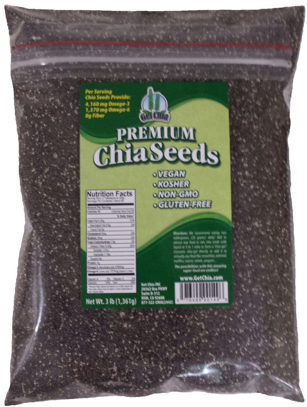 Marquis-Nutra Foods/Get Chia Brand Chia Seed, 3-Pound Bag