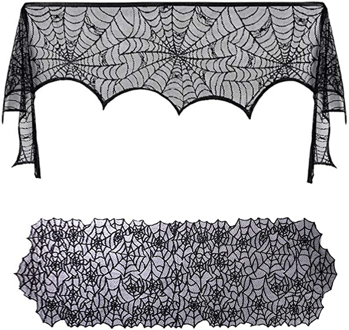 KoKoWill Halloween Decoration Kit Black Lace Spiderweb Fireplace Mantle Scarf Cover(18 x 96 inches) with Table Runner Topper Tablecloth(19 X 72inches) for Halloween Party Indoor Decor