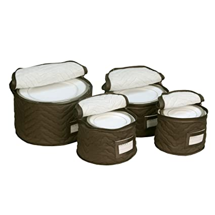 Ordinaire Hold N Storage Microfiber Quilted China Plate Storage Cases, Chocolate, Set  Of 4