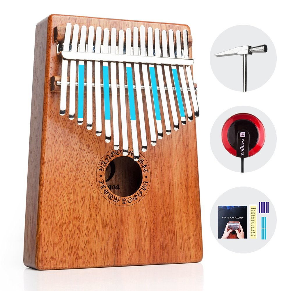 Vangoa 17 keys Kalimba Thumb Piano kit Finger Piano, Portable Mahogany Wood African Music Instrument with Tuning Hammer, Cloth Bag, pickup and key stickers