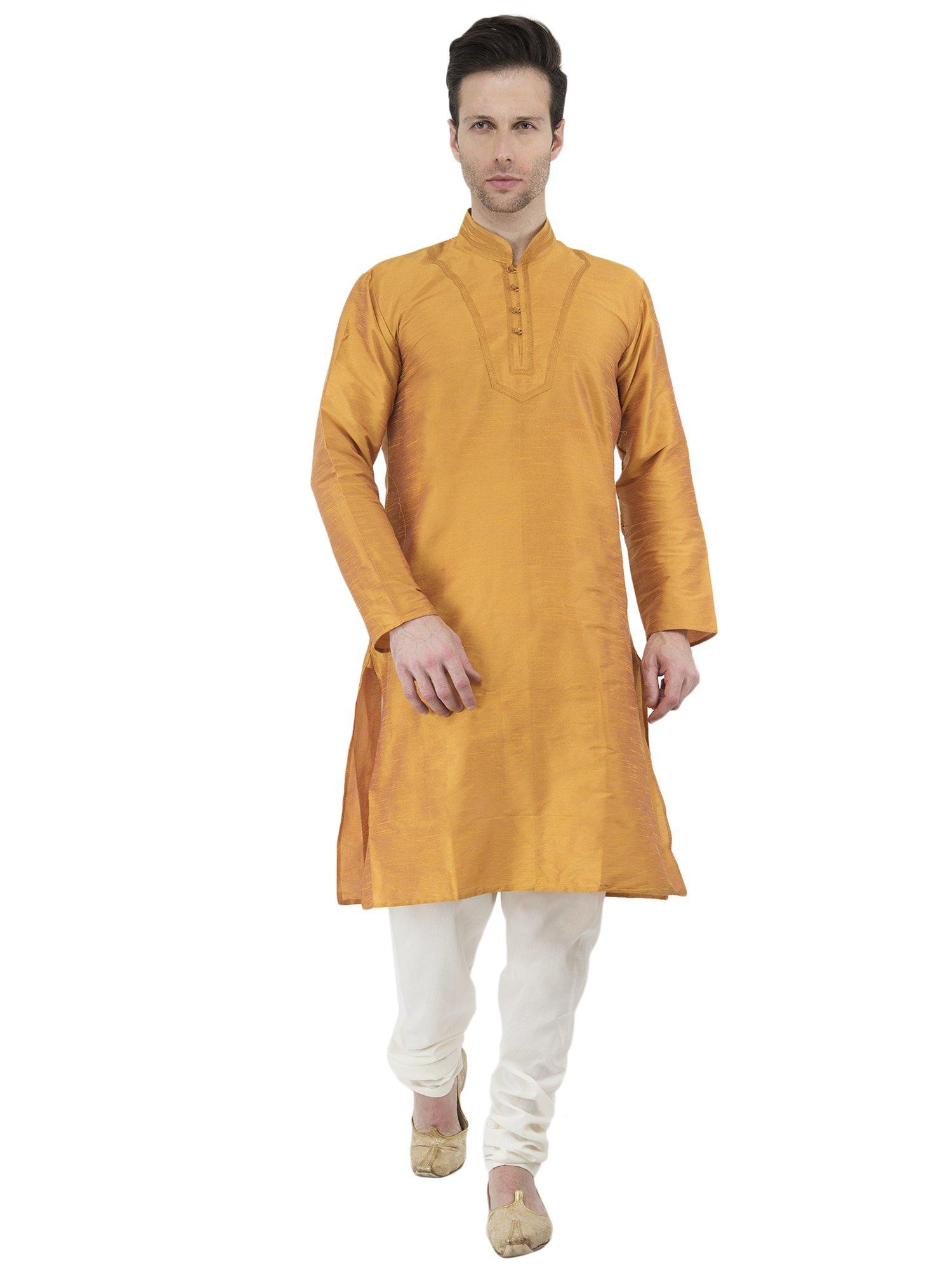 Mens Golden Kurta Pyjama Indian Style Wedding Bollywood Ethnic Long Sleeve Button Down Shirt Dress -M