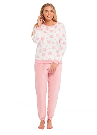 2be081bf73697 CHICAMO Ladies Jaquard Star Fleece Pyjamas Set: Amazon.co.uk: Clothing