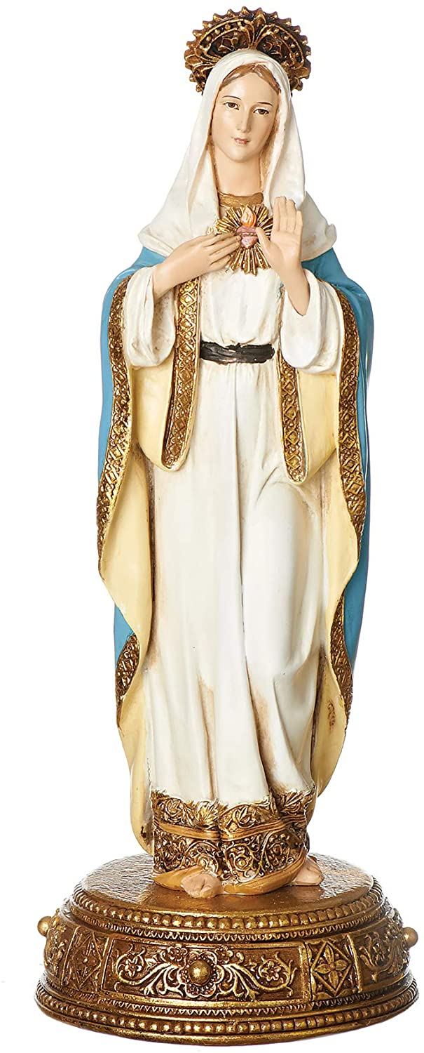 Joseph's Studio by Roman - Immaculate Heart of Mary Figure on Base, Heavenly Protectors, Renaissance Collection, 10.5