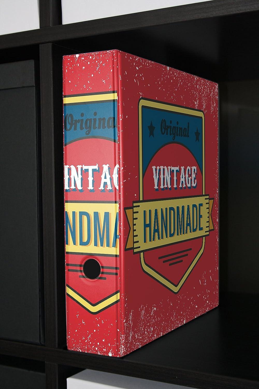 Archivador A4 Carpeta 2 anillas 60mm impreso Vintage hecho a mano: Amazon.es: Hogar