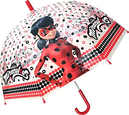 Chanos Chanos Miraculous Lady Bug Manual Dome Shape PoE Transparent Folding Umbrella, 45 cm,