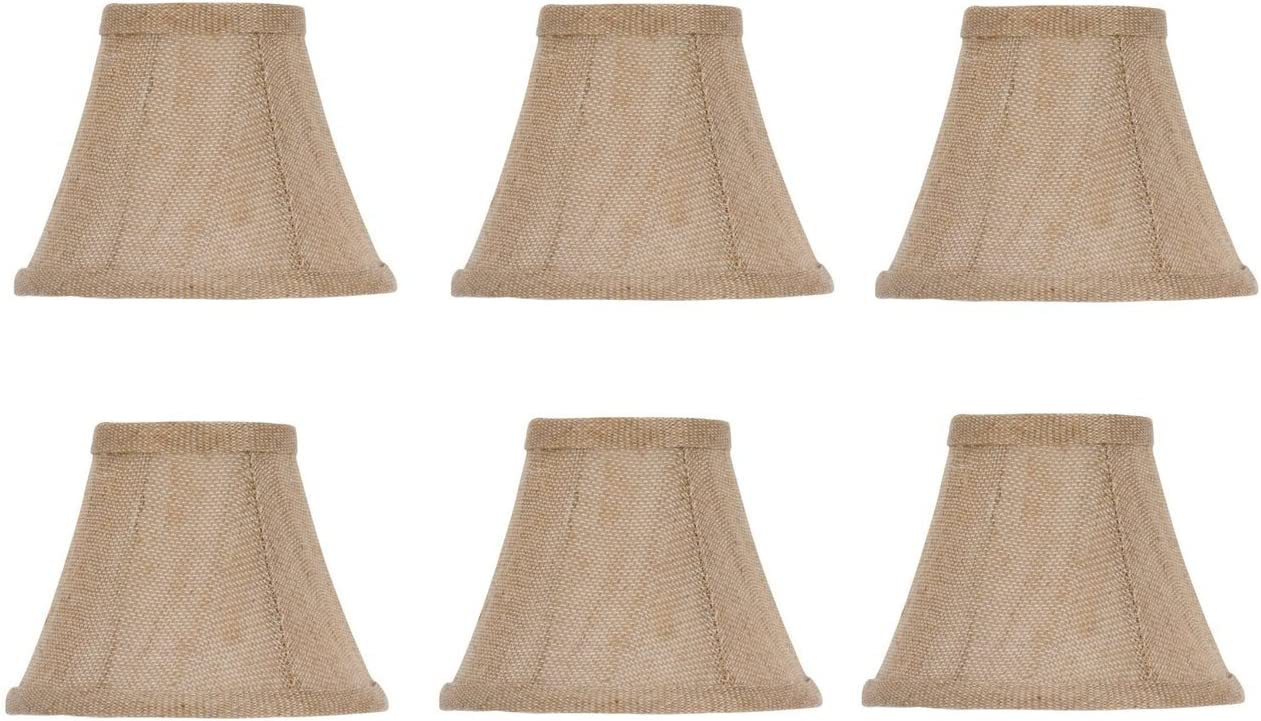 Upgradelights Set of 6 Natural Linen Bell Shade Chandelier Lamp Shade Mini Clip on Shade 6