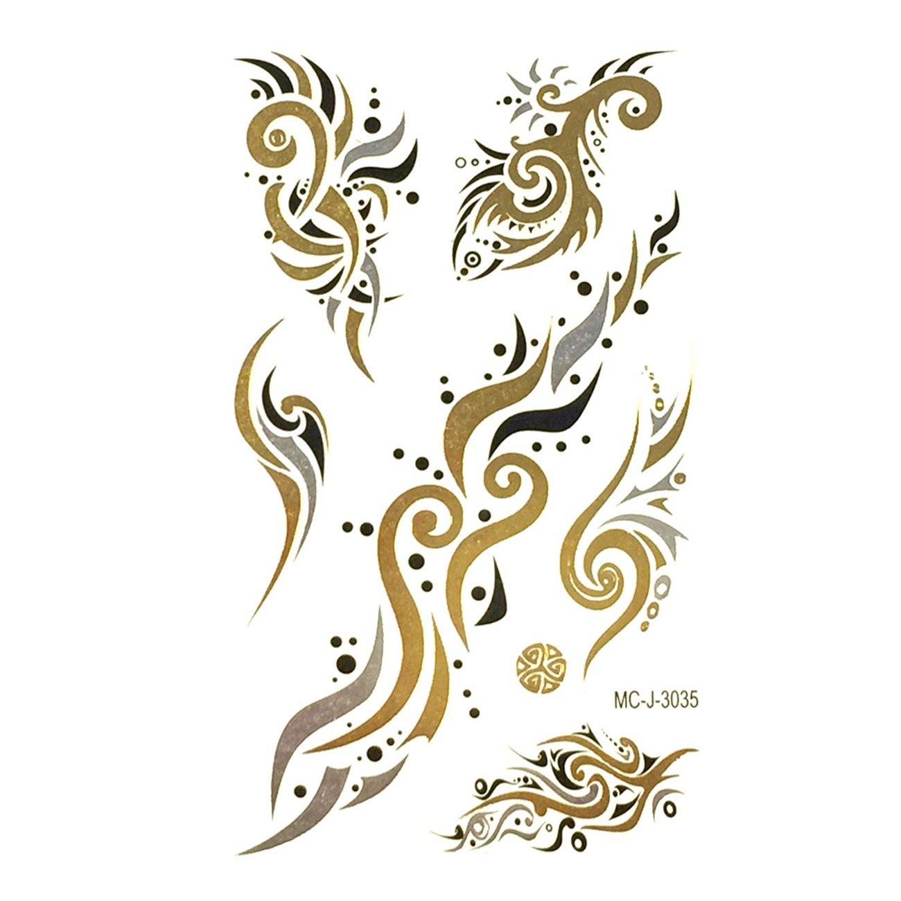Wrapables pequeñas metálico oro y plata Tatuajes Temporales ...