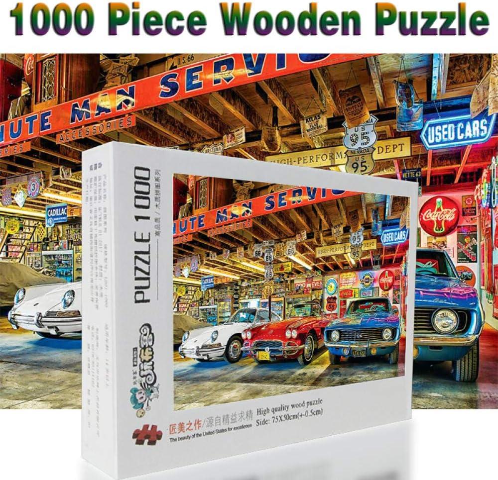Spetich Coche Clásico 1000 Piezas Puzzle De Madera Para Adultos Dibujos Animados Para Niños Juguetes Educativos Regalos-38 * 52Cm-500 Pieza Regalos Originales Para Mujer/Hombre
