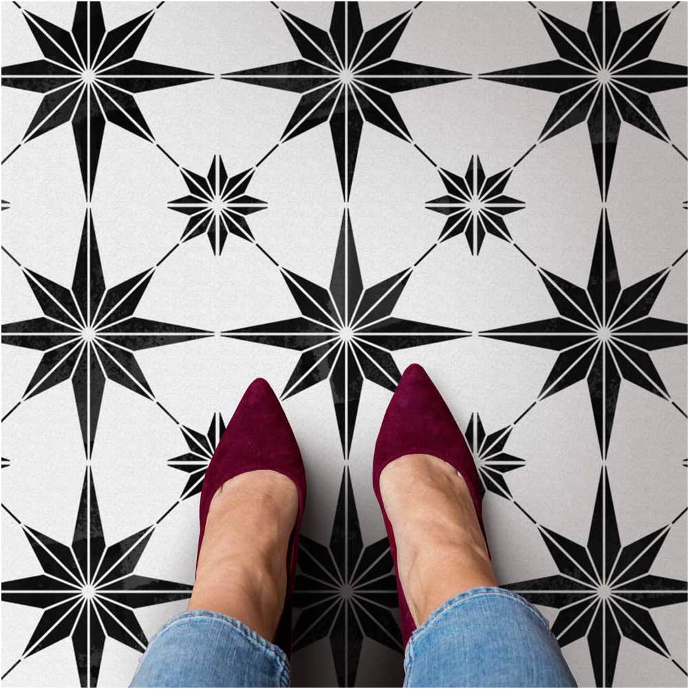 Star Tile Stencil - Geometric Cement Tile Stencils for Painting Tiles - Reusable Tile Stencils for Home Makeover - Paint Your Old Tile and Save - Floor Painting Stencils - (Large Tile Stencil 12x12)