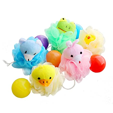 Shower Sponge Animal Bath Loofahs Pouf Wash Ball Puff Bulk Mesh Brush Luffa Body Scrubber for Kids,Toddler,Boys,Girls, Baby Shower Essential Skin Care, Soft Bathing Accessories Pack of 5