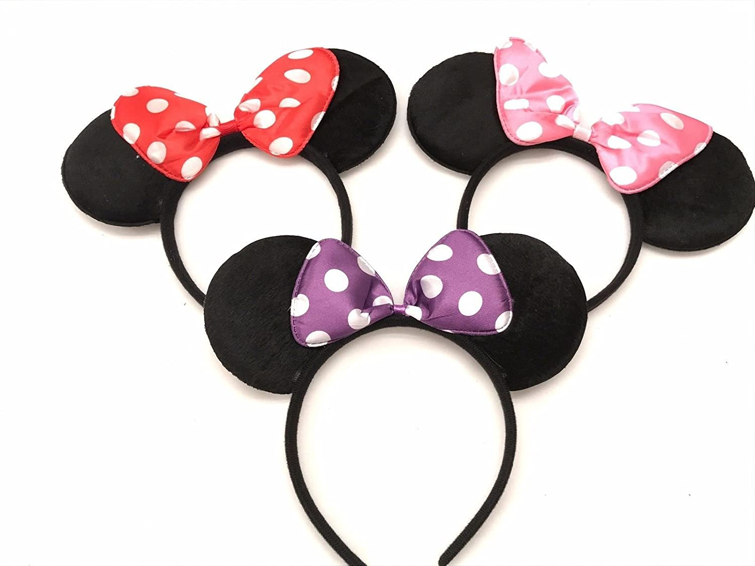 3 Mickey Mouse Ears Headband Black Party Disney Minnie Costume Favors Black One