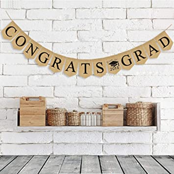 amazon com 2018 new vintage jute burlap congrats grad graduation