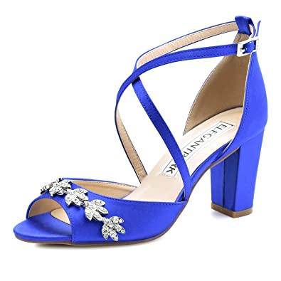 25823a316c Amazon.com | ElegantPark Women Peep Toe Block High Heel Sandals Strappy  Rhinestones Satin Bridal Wedding Evening Prom Dress Shoes | Heeled Sandals