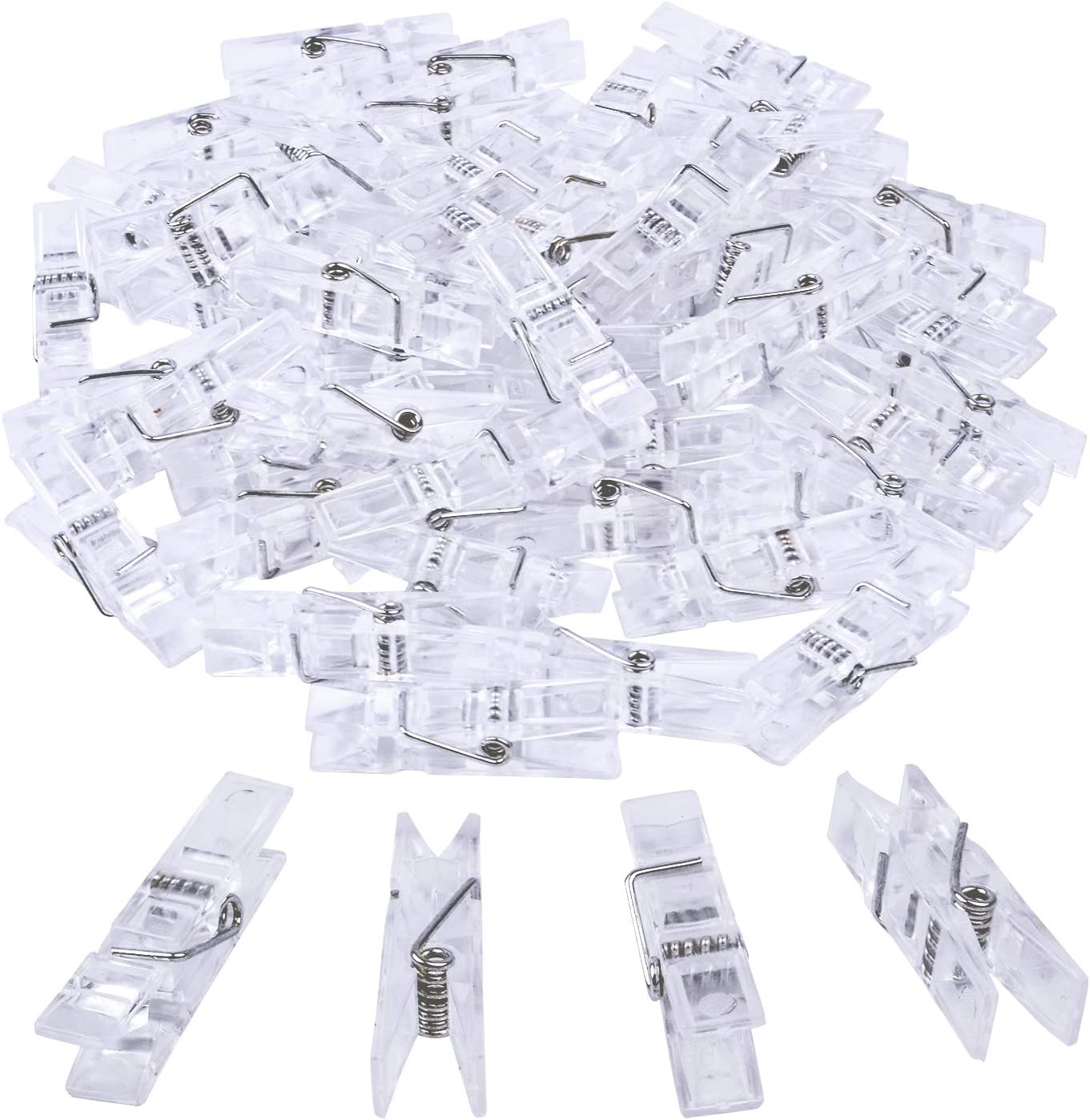 BronaGrand 50pcs Small Clear Plastic Utility Paper Clip, Clothespins Clip, Clothes Line Clips,Photo Clips 3.5x0.7x1cm