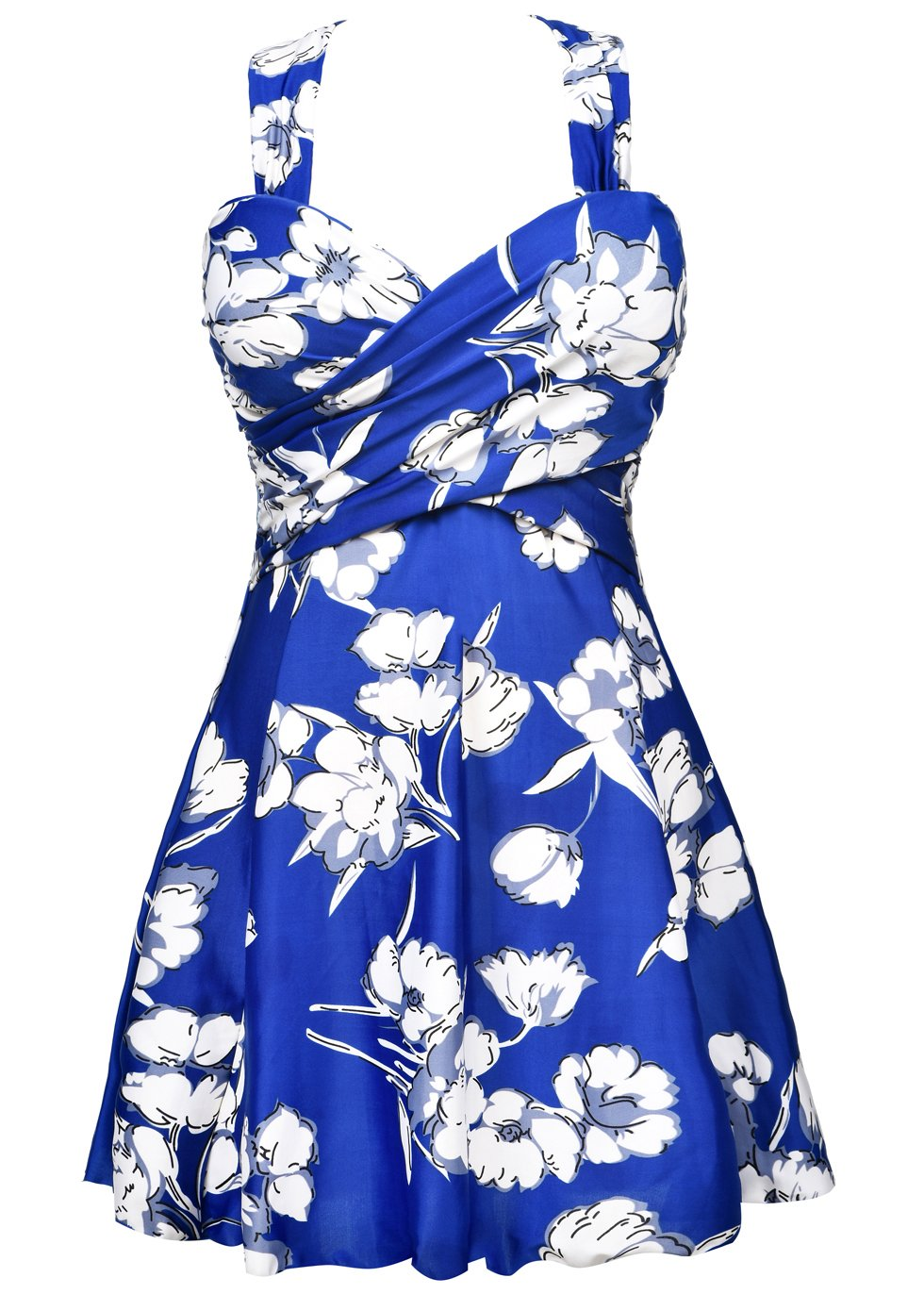 2b14decfd284d COCOPEAR Women's Elegant Crossover One Piece Swimdress Floral Skirted  Swimsuit(FBA)