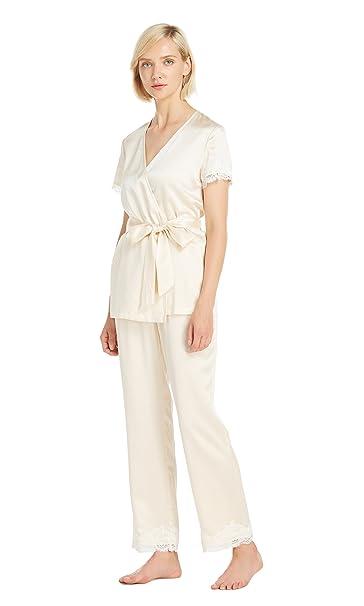 LILYSILK Pijamas Mujer de Seda Mangas Cortas con Encaje - 100% Seda de Mora 22