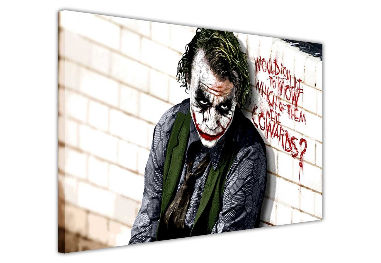 Pop Art Canvas Zitat Wall Art Iconic Joker Batman Dark Cowards ...