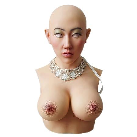 XDRESSER Transvestiten Crossdresser Silikon Torso mit Maske und Silikonbrüsten, ohne Arme für Frauen und Herren Stück hautfar