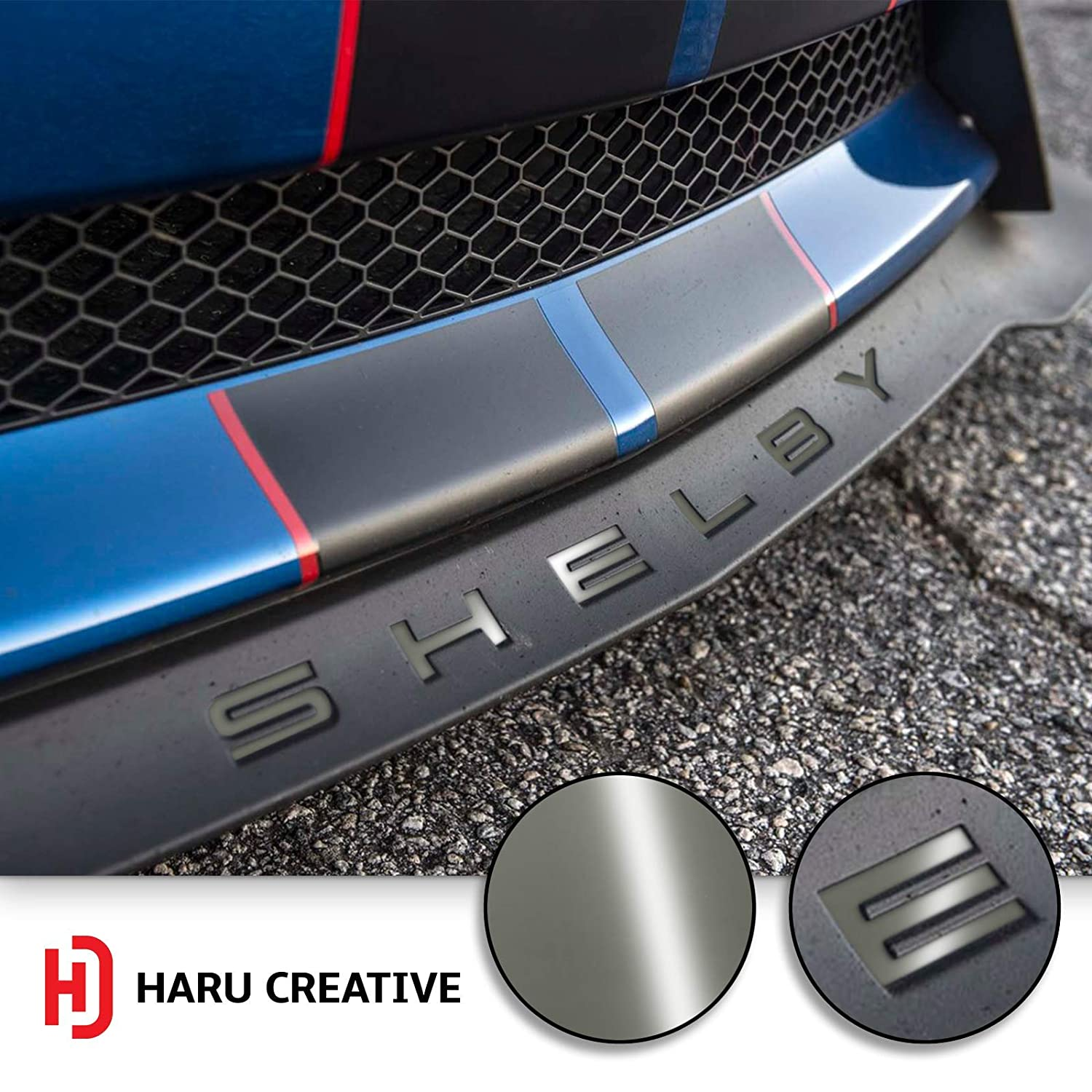 Haru Creative Front Splitter Lip Hood Grille Letter Insert Overlay Vinyl Decal Sticker Compatible with and Fits Mustang Shelby GT350 2015-2018 Gloss Silver Loyo