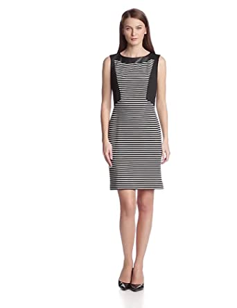 Anne Klein Women's Stripe Ponte Sheath Dress, Black Multi, 2