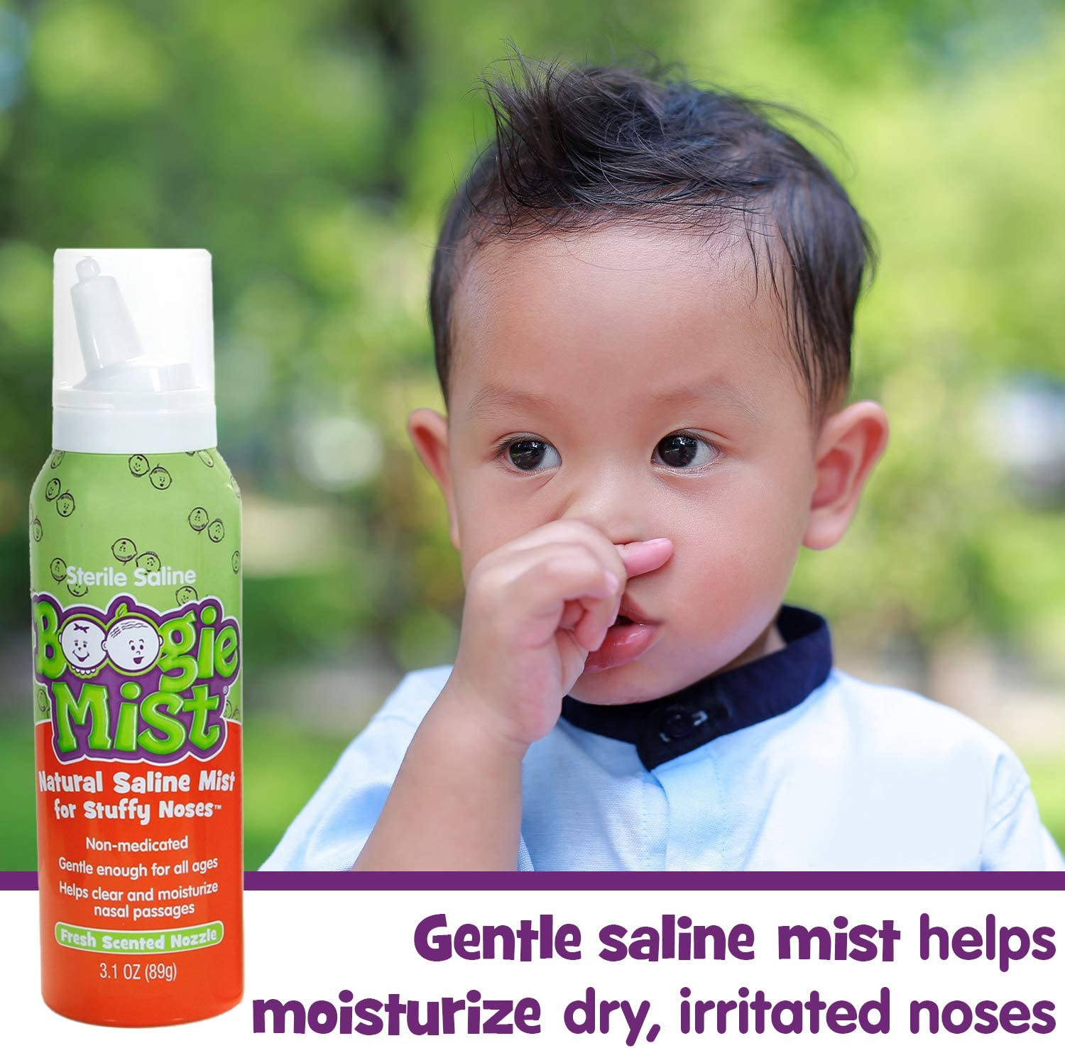 Saline Nasal Spray for Baby and Kids by Boogie Mist, Decongestant, Made with Sterile Saline, Safe for Newborn, Fresh Scent, 3.1 Ounce, Transparent (816167010741): Health & Personal Care