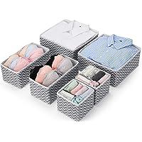 MaidMAX Set of 6 Dresser Drawer Organiser, Fabric Wardrobe Organiser for Cupboard, Drawer Insert, Closet Dividers Foldable Storage Bins Box Containers for Socks, Underwear, Bras, Ties, Scarves, Grey